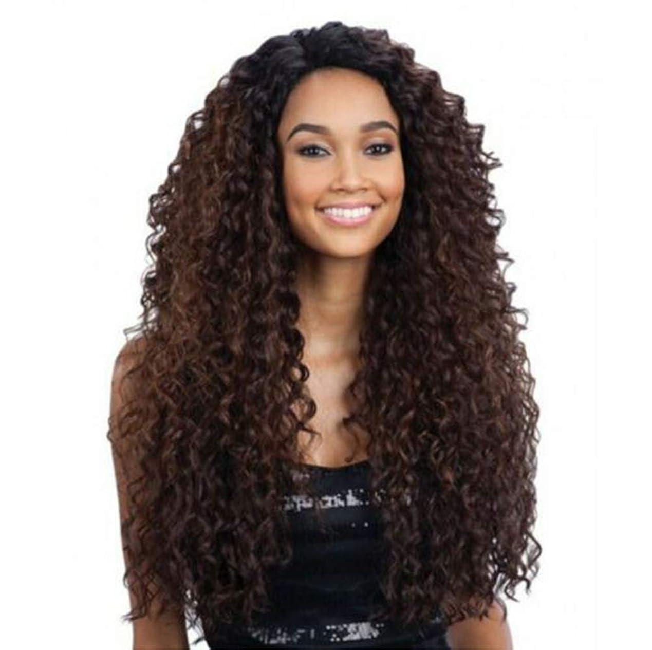 熱心傷つきやすいカストディアンフロントレースの女性ロングカーリー変態波状かつら合成耐熱繊維毛髪かつら黒26インチ