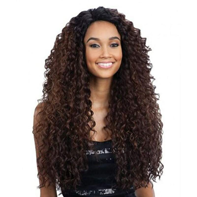 楽な引っ張るアパートフロントレースの女性ロングカーリー変態波状かつら合成耐熱繊維毛髪かつら黒26インチ