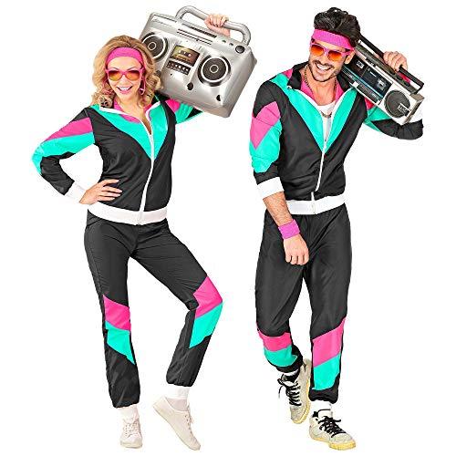 Widmann 10162 - Kostüm 80er Jahre Trainingsanzug, Jacke und Hose, angenehmer Tragekomfort, Assi Anzug, Proll Anzug, Retro Style, Bad Taste Party, 80ties, Karneval
