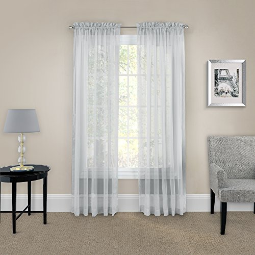 """PAIRS TO GO Victoria Voile 63"""" x 118"""" Light Filtering Double Rod Pocket Window Panel Curtain Living Room, 59x63, GRAY, 2 Count"""
