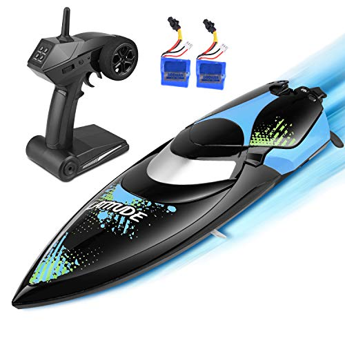 kuman Upgrade Waterproof Remote Control Boat for Pools and Lakes 25km/h High Speed RC Boats Toy for Kids and Adults