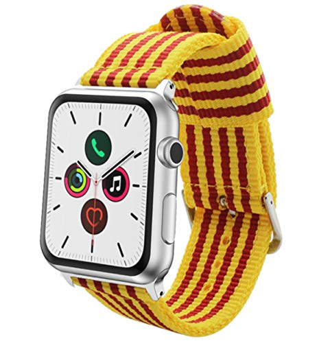 Estuyoya - Pulsera de Nailon Compatible con Apple Watch Colores Bandera de Catalunya, Ajustable Estilo Deportiva Casual Elegante para 42mm 44mm Series 5/4 / 3/2 / 1 Nike+ Todos los Modelos