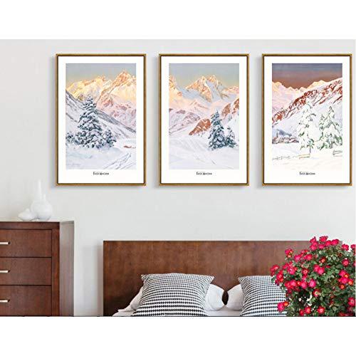 MMLFY 3 canvas schilderijen klassieke tuin landschap olie schilderij triple decoratieve schilderijen Unframed