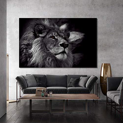 MLSWW Wandgemälde Wandbilder und Fußabdrücke auf Leinwand, Wandbilder, Schwarze Löwenbilder für die Dekoration des WohnzimmersKreuzstich, modernes Zuhause, Dekor Wohnzimmer