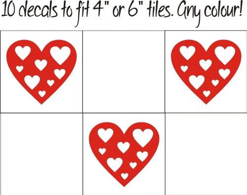 FSSS Ltd Lot de 10 Stickers muraux pour Salle de Bain et Cuisine Motif cœur en cœur Style Shabby Chic Rose Vif 130 mm, Vinyle Auto-adhésif, Turquoise, 130mm