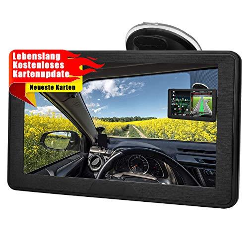 GPS Navigationsgerät für Auto, Aonerex Navigation für LKW PKW KFZ 7 Zoll Touchscreen Lebenslang Kostenloses Kartenupdate mit POI Blitzerwarnung Sprachführung Fahrspur 52 Karten für Europa UK