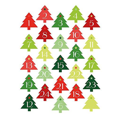 Weihnachtsbaum-Sticker Set DIY I 24 Adventskalender-Zahlen-Aufkleber zur Gestaltung von Geschenken I Weihnachtsaufkleber Geschenk-Aufkleber dv_052