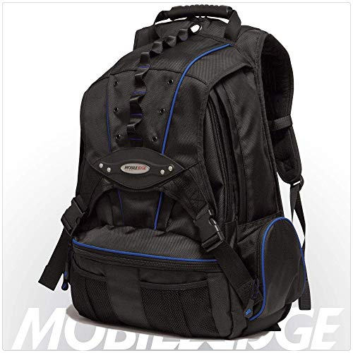 Mobile Edge Premium Laptop Backpack Cool-Mesh Ventilated Back Panel, SafetyCell Computer Compartment 17.3 Inch Black w/Navy Trim Men, Women, Business, Student MEBPP3