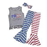 Conjunto y conjunto para niñas recién nacidas, camiseta sin mangas para bebés y niñas del 4 de julio con flecos, camiseta y diademas