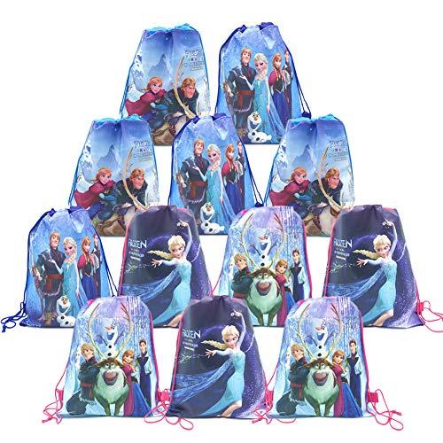 12 Pack Bolsas de Cuerdas para Infantil Frozen Mochila con Cordón Niños Bolsas Regalo Cumpleaños Deporte Gimnasio Backpack Niños Niñas Cumpleaños, Navidad, baby shower, regalos de fiesta