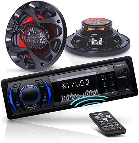 BOSS Audio Systems 616UAB Multimedia Car Stereo - Single Din LCD Bluetooth Audio and Hands-Free Calling + CH6530 Car Speakers - 300 Watts of Power Per Pair and 150 Watts Each, Sold in Pairs