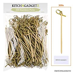 Kitch N Gadgetz 300-pack of 3.5 ~ 4.1 inch natural bamboo knot picks. Great for cocktail party or barbeque snacks, club sandwiches, hors d'oeuvres, finger food, tapas, kebabs, etc. Keeps ingredients pinned together and adds style to your food present...