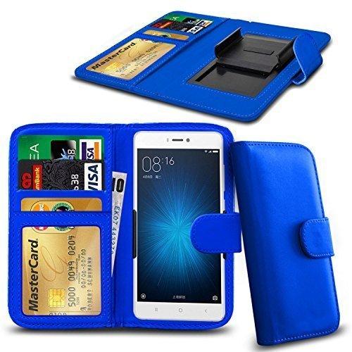 N4U Online Various Farben Clip auf Serie Kunstleder Brieftasche Hülle für Nokia Lumia 730 Dual SIM - Blau