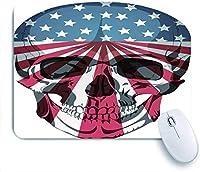 Mabby マウスパッド,Human Skull Bones Skeleton Dead Anatomy Flag USA,ラップトップコンピュータPCオフィス用の滑り止めラバーベースマウスパッド、かわいいデザインデスクアクセサリー