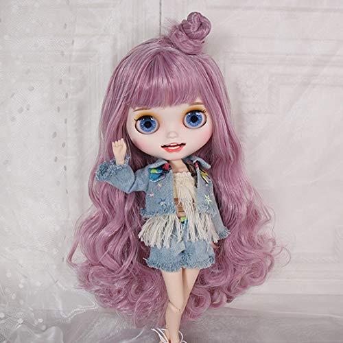 HYZM Blythe Doll 1/6, 19 Joints Blythe Puppe + Make-up + Vollständige Kleidung + 4 Farben Augen + 9 Paar Hände, Rosa langes lockiges Haar