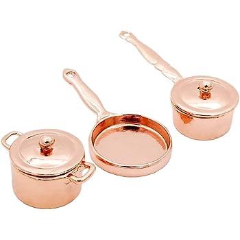 Casa De Muñecas cobre y oro CAZO PAN Set Miniatura Accesorio de Cocina Utensilios de cocina