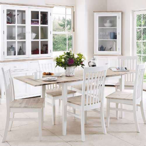 Florence Extending Table and 6 Chairs Set. Kitchen Dining Table and Chair Set in White Colour with limed Hardwood Table top