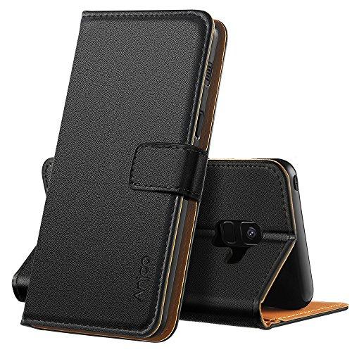 Anjoo Coque Compatible pour Samsung A8 2018, Housse en Cuir avec Magnetique Premium Flip Case Portefeuille Etui Compatible pour Samsung Galaxy A8 2018, Noir