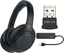Sony WH-1000XM4 Wireless Noise Canceling Over-Ear Headphones (Black) with Knox Gear 4-Port USB 3.0 Hub and USB Bluetooth D...