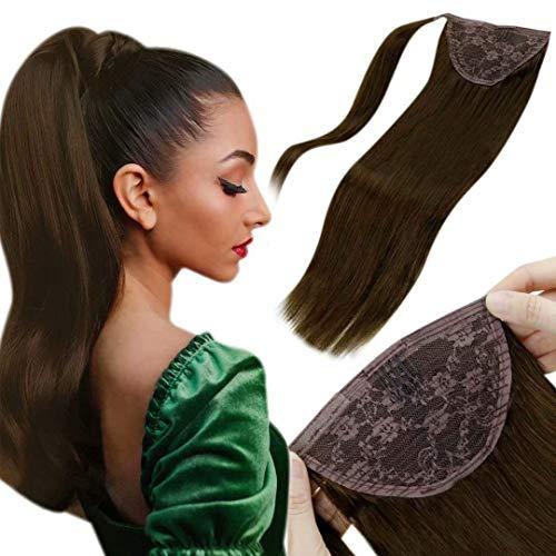Extension Queue De Cheval Cheveux Naturel - Lisse Remy Hair - 35cm 70g Marron Foncé Postiche Queue De Cheval Naturel Humain - Brazilian Hair Ponytail Wrap Around Attached with Velcro 14Pouce