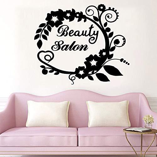 Pegatinas de pared de salón de belleza de dibujos animados, sala de estar móvil para niños, decoración del hogar, pegatinas de pared, decoración del hogar A9 57x67cm