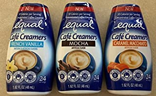 Variety Pack of 3 Equal Cafe` Creamers French Vanilla,Mocha and Caramel Macchiato Net wt 1.62 OZ Each
