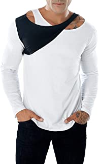 Long Sleeve T-Shirt for Men, Fashion Casual Slim Splice Color Crewneck Muscle Shirt Top