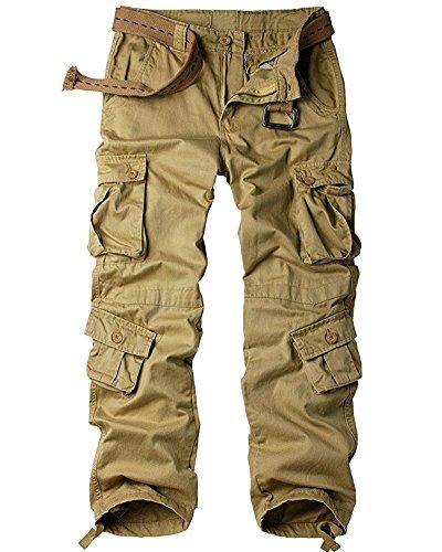 BDU - Pantalones tipo militar casuales de algodón, camuflaje, tácticos, combate salvaje, uniforme de combate de la armada (ACU), resistentes al desgarro, con 8 bolsillos de carga, Straight, 32, Verde ejército