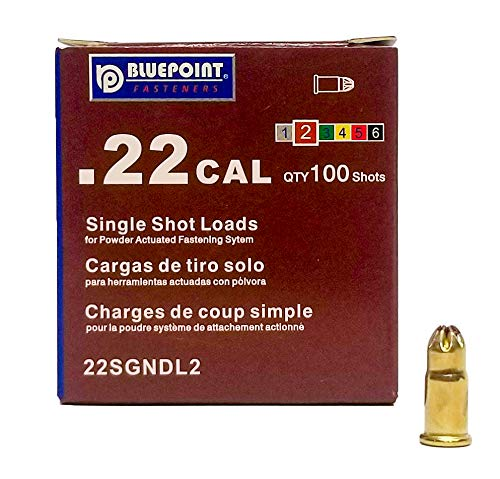 BLUEPOINT .22 Cal BROWN Neck Down Single Shot Powder Load for Powder Actuated Fastening System, (100 - Count). Item# 22SGNDL2