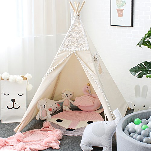 Lebze Kids Teepee Tent for Kids, Lace Teepee for Girls Canvas Children Play Tent for Indoor Outdoor...