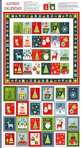 Makower - Calendario de Adviento de Navidad con bolsillos para calendario de Adviento, diseño de elefante en mi bolso de mano, 60 cm x 110 cm, 100 % algodón