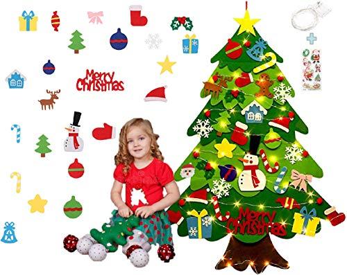 Norubvs Filz Weihnachtsbaum mit 42 Stück Ornamente, 3,2ft Kinder Neujahr handgefertigte DIY Weihnachtstür Wandbehang Dekorationen (Stil 1)