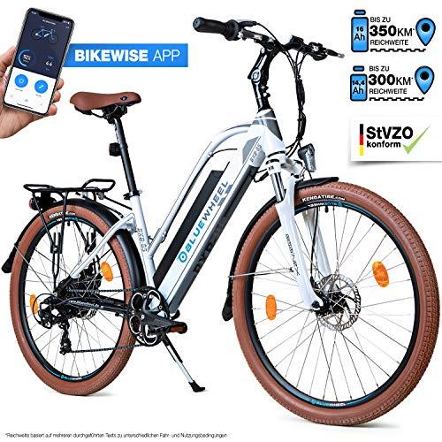 Bluewheel 26 Zoll innovatives Damen E-Bike 14,4/16Ah -Deutsche Qualitätsmarke- EU-konformes Pedelec mit App, 250W Motor, Lithium-Ionen-Akku Elektro-Fahrrad BXB85 mit Shimano 7 Gang-Schaltung