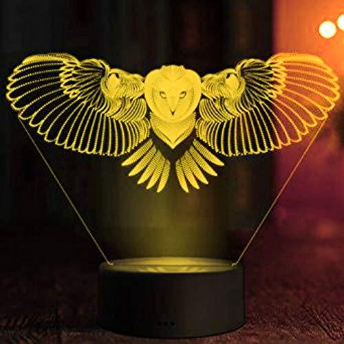 Jinson well Lámpara 3D con diseño de búho, águila y águila, ilusión óptica, luz nocturna, 7 cambios de color, táctil, mesa de escritorio, lámpara decorativa, lámpara de base de ABS, cable USB, juguete