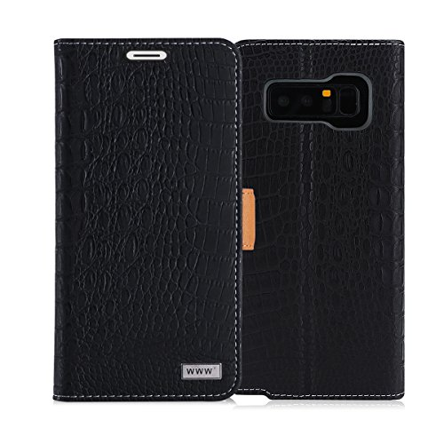 Note 8 Case, Galaxy Note 8 Case, WWW [Crocodile Pattern] Premium PU Leather Wallet Case Flip Phone Case Cover with Card Slots for Samsung Galaxy Note 8 Black