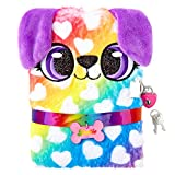 Claire's Plush Lock Diary for Girls, Dottie The Puppy, Rainbow, Includes Lock with 2 Keys, 6x8 Inches