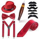 Beelittle Menss Accessory Set Manhattan Cappello, Bretelle Y-Back, Cravatta Gangster, Cigar Sigaro Finto Giocattolo (C1)