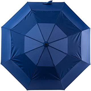 Fully Automatic Double-Layer Windproof Umbrella Men's Business Folding Sun Umbrella to Increase Ventilation Umbrella HYBKY (Color : Blue)