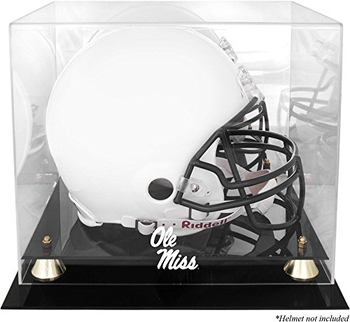 Ole Miss Rebels Golden Classic Team Logo Helmet Case with Mirrored Back - College Football Helmet Display Cases