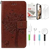 STENES Wallet Phone Case Compatible with LG G4 - Stylish Series Cat Tree Butterfly Design Stand Leather Cover with Screen Protector & Cable Protector - Brown