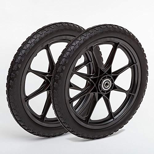 Lapp Wheels Set of Two 20x1.95 with 5/8 Bearing. Flat Free Plastic Spoke Wheel, Utility Cart, Garden carts, Replacement Wheels,