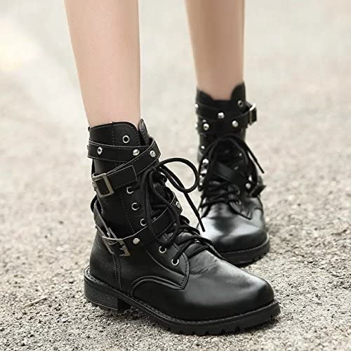 AGECC botas para mujer Cómodas, Hermosas y duraderas botas LIU Ding botas Cortas botas y Parte Inferior Gruesa botas Martin Remache de Roma Big Yard mujer zapatos  Best Gift FOR You