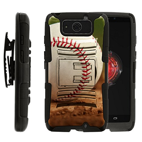 Compatible with Motorola Droid Maxx Case | Droid Ultra Case [Hyper Shock] Hybrid Rugged Holster Belt Clip Hard Shell Cover Sports and Games by TurtleArmor - Baseball Dirt