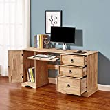 1 Door 3 Drawer Computer Desk Solid Pine Wood Mexican Style Office Workstation Study Writing Table with Keyboard Drawer for Home Furniture