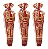Popcornopolis Gourmet Popcorn - 3 Caramel Corn Cones - Small Storage Space Friendly & Great Stocking Stuffers! 6.6oz total
