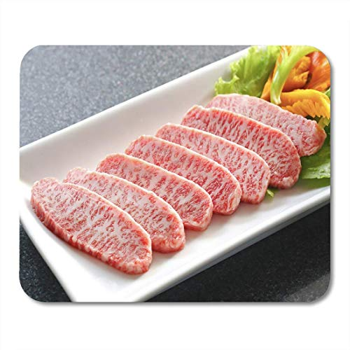 Deglogse Gaming-Mauspad-Matte, Red Meat Premium Japanese Wagyu Beef Sliced on Plate Mouse Pad,...