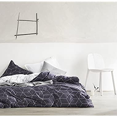 Minimal Style Geometric Shapes Duvet Quilt Cover Modern Scandinavian Design Bedding Set 100-percent Cotton Soft Casual Reversible Block Print Triangle Pattern (King, Darkest Gray)