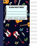 Blank Sheet Music: Guitar Music Notes Cover 8x10' 100 Pages 12 Stave Standard Manuscript Paper / Staff Paper , Musicians Notebook