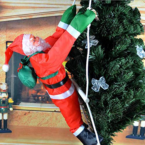 FEINASU 40CM Climbing Hanging Santa Claus for Christmas Decoration