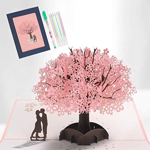 3D Glückwunschkarte Hochzeit, Pop Up Rosa Kirschblüten Karte Hochzeit, Romantische Valentins Karte mit Umschlag, Glückwunschkarte für Ihn, Sie, Karte zur Hochzeit